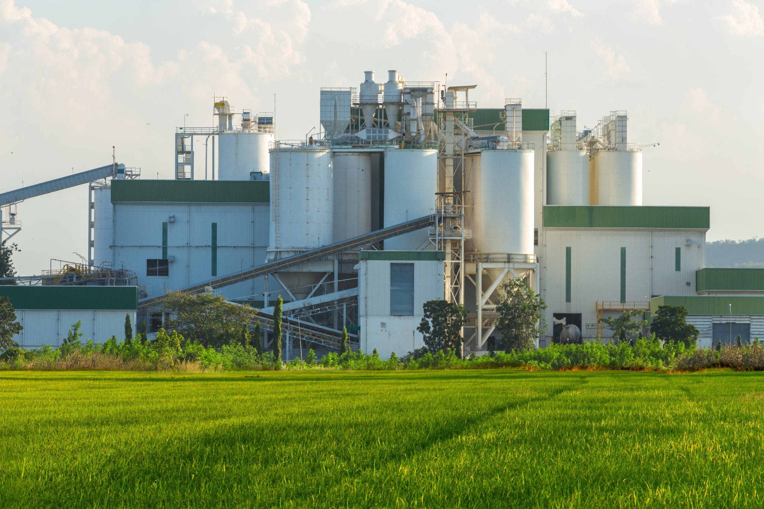 Ethanol Industrial Refinery With Rice Fields In The Foreground.